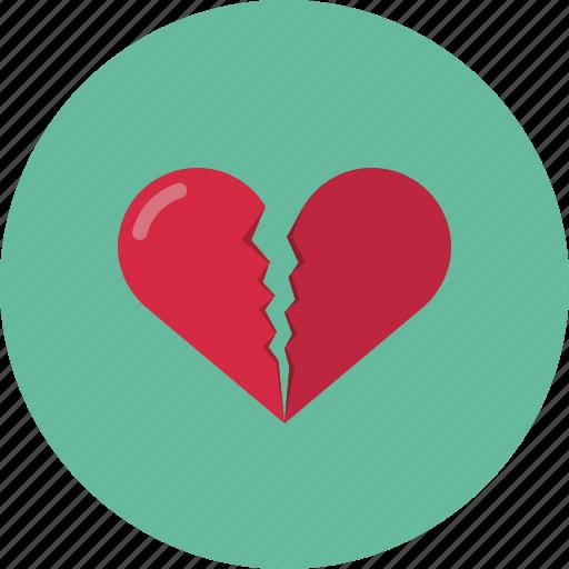 broken, broken heart, heart, love, valentine, valentine's day icon