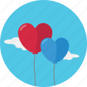 balloon, baloon, heart, love, romantic, valentine, valentine's day icon
