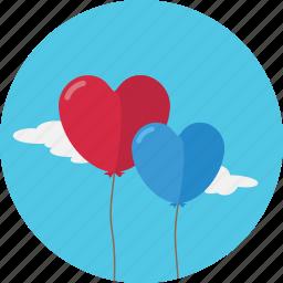 balloon, baloon, heart, love, romantic, valentine, valentine's day icon