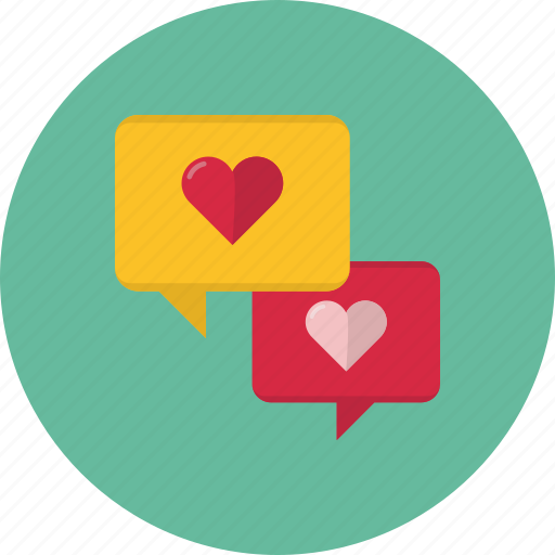 bubble, chat, comment, heart, love, message, speech, talk, valentine's day icon