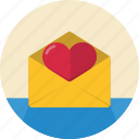 email, envelope, heart, love, mail, message, open, send, valentine, valentine's day icon