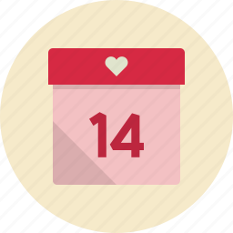 calendar, date, day, event, heart, love, month, romantic, timetable, valentine, valentine's day icon