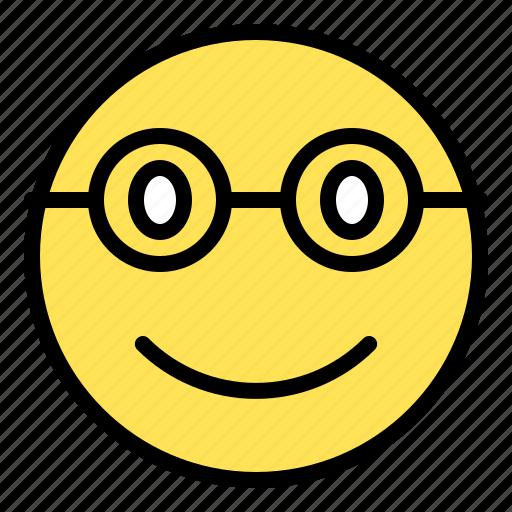 emoji, emoticon, expression, glasses, smile icon