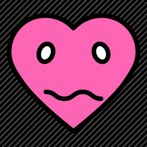 bored, emoji, emoticon, heart, valentine icon