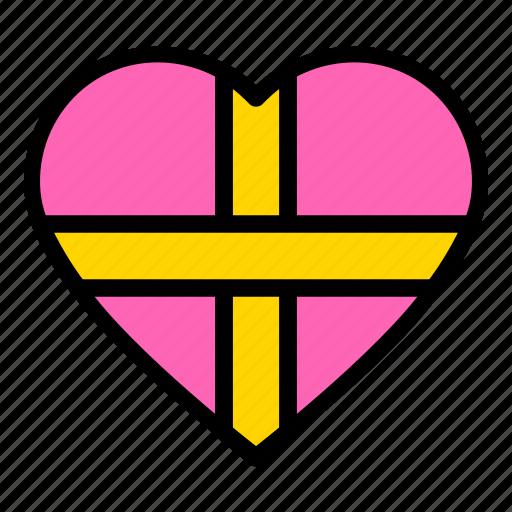 gift, gift box, heart, valentine icon