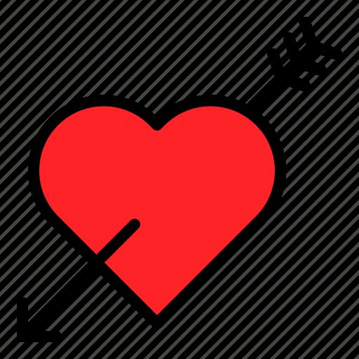 arrow, heart, romance, valentine icon