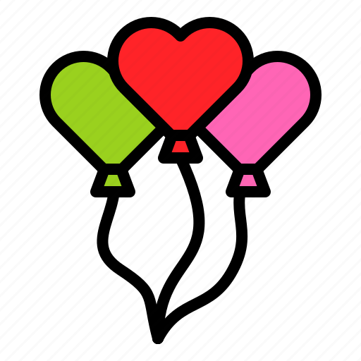 Balloons, heart, party, toy, valentine icon - Download on Iconfinder