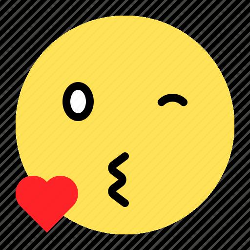 emoji, emoticon, expression, kiss, love icon
