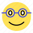 emoji, emoticon, expression, glasses, smile