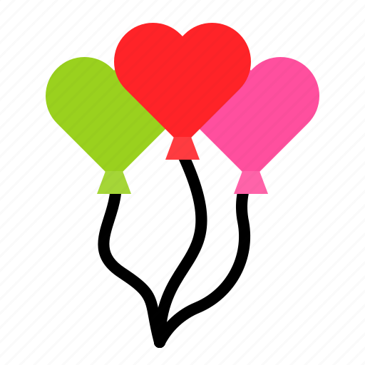 balloons, heart, love, party, toy icon