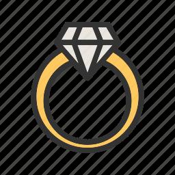 crystal, diamond, gemstone, gift, gold, jewelry, ring icon