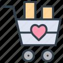 valentine, cart, basket, trolley, wedding, marriage