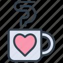 valentine, glass, beverage, hot chocolate, tea, romantic