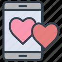 valentine, smartphone, romance, emoticons, love, like