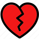 broken, broken heart, broken heart shaped, heart, heart broken heart, love and broken heart icon