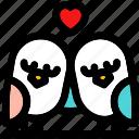 in love, love bird heart, love birds, lovers, romantic birds, valentine bird icon