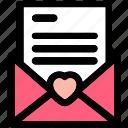 love letter, love letter valentine, love lettering, message, message heart icon