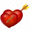 arrow, heart, hearts, love, valentine's day icon