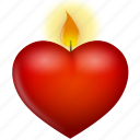candle, flame, heart, love, valentine's day icon