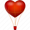 balloon, fire, heart, love, travel, valentine's day, romantic icon