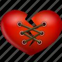 heart, stitch, valentine, valentine's day