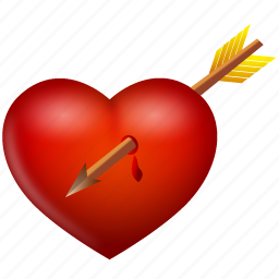arrow, heart, love, valentine, valentine's day icon