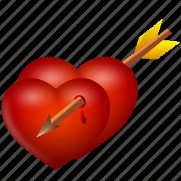 arrow, heart, hearts, love, valentine's day icon