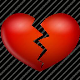broken, heart, hurt, love, valentine's day icon