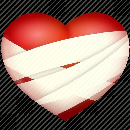 bind up, heart, hurt, love, valentine's day icon