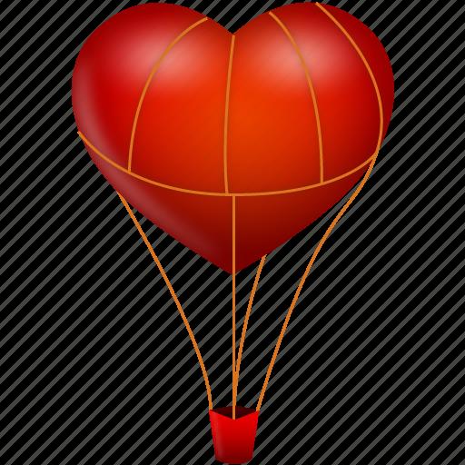 balloon, fire, heart, love, travel, valentine's day icon