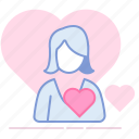 crush, heart, love, lover, romance, valentin, woman icon