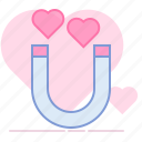 attraction, heart, lovers, magnet, partner, romance, valentin icon