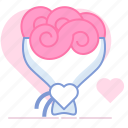 bouquet, flowers, gift, heart, love, romance, valentin icon