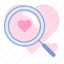 heart, lens, love, magnifying glass, romance, search, valentin icon