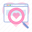 browser, dating, heart, lens, love, search, valentin icon