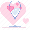 aphrodisiac, glass, heart, love, romance, valentin, yumminky icon