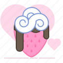 aphrodisiac, chocolate, heart, strawberry, sweet, valentin, whipped cream icon