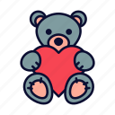birthday, love, present, romance, teddy bear, valentine, valentines day icon