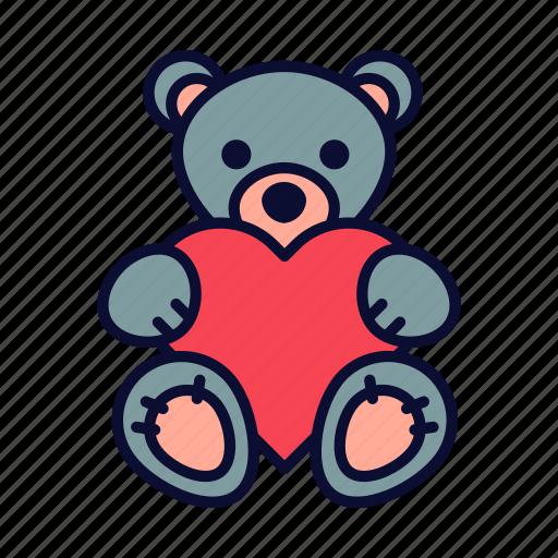 birthday, love, present, romance, teddy bear, valentine, valentines day icon