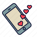 heart, love, love message, phone, romance, valentine, valentines day icon