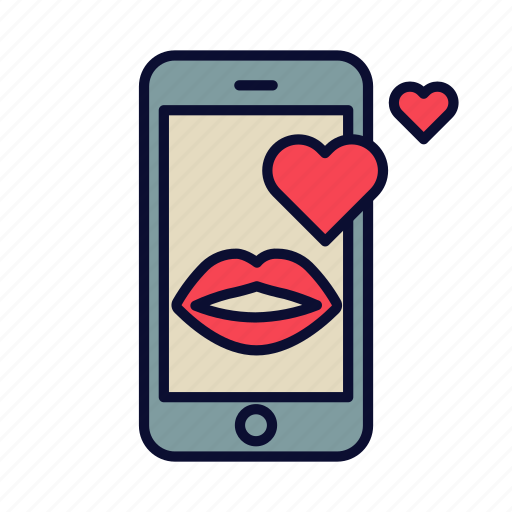 heart, kiss, love, love message, phone, valentine, valentines day icon