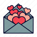 heart, hearts, love, love letter, romance, valentine, valentines day icon