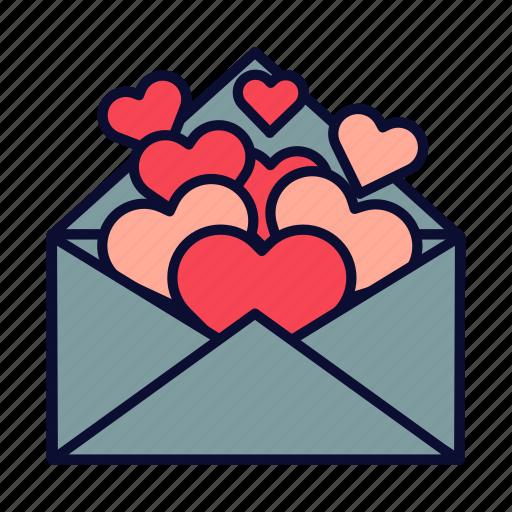 heart, hearts, love, love letter, romance, valentine, valentines day icon