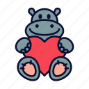birthday present, hippo, love, present, toy, valentine, valentines day icon