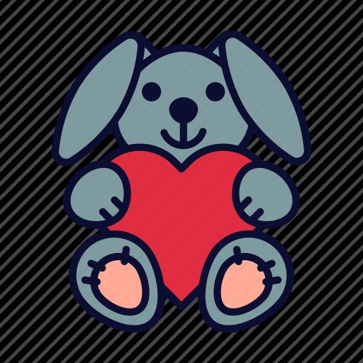 birthday, bunny, love, present, valentine, valentines day icon