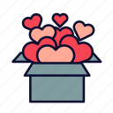 birthday, heart, love, present, romance, valentine, valentines day icon