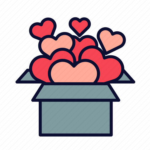 birthday, heart, love, present, romance, valentine, valentines day icon