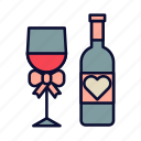 drink, love, romance, valentine, valentines day, wine icon