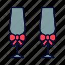 champagne, love, romance, special date, valentine, valentines day, wedding icon