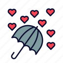 heart, love, rain, romance, umbrella, valentine, valentines day icon